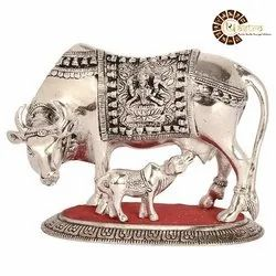 Silver Finish Metal Cow And Calf Idol