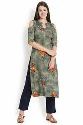 Cold Shoulder Rayon Kurti