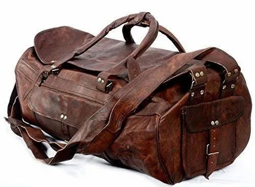 Round Brown Leather Duffel Bag e770ee0b055f8