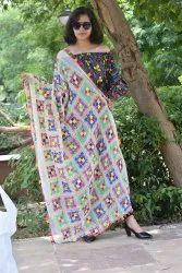 Designer Phulkari Style lace dupatta