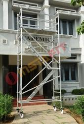 Silver Aluminum Mobile Scaffold With Step