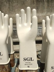 Latex White 14 Inch Rubber Hand Gloves, For Chemical Industries, Model Name/Number: Sgl Industrial