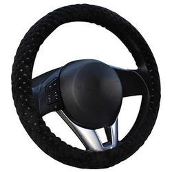 Black Leather Car Steering Cover