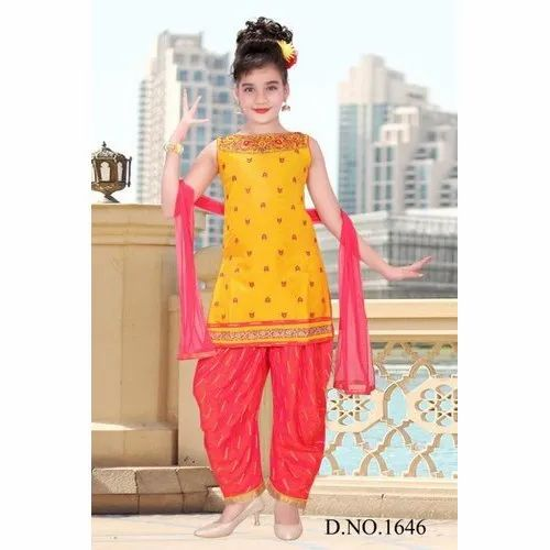 Chiffon Stitched Kids Girl Designer Patiala Suit