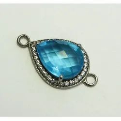Blue Topaz Quartz Black Rhodium Plated CZ Set Connector