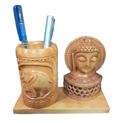Donkhoria Brown Wooden Handicraft Pen Stand With Buddha Idol