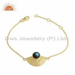 Labradorite Gemstone Designer Gold Plated Silver Chain Bracelet
