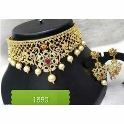 Brass Imitation Crown Necklace Set