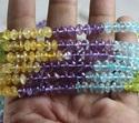Amethyst, Citrine, Perdot, Crystal Faceted Button Stone Beads