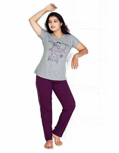 3dd783b092 Cotton V-Tex Smile Purple Print Top   Pajama