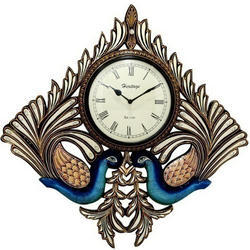 Kite Shave Wooden Double Peacock Wall Clock