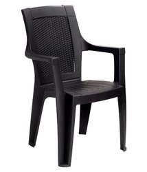 Black Nilkamal Mystique High Back Chair With Arm (Charcoal Grey)