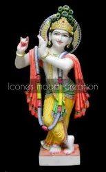 Painted Marble Krishna Statue