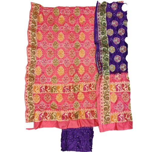 Peach And Lavender Color Fancy Design Gadhwal Bandhani Dress Material