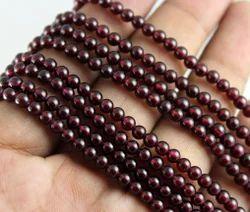 Garnet Plain Round Smooth Stone Beads