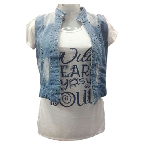Medium And Xl White And Blue Ladies Stylish Top With Denim Jacket