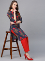 Printed Kurta With Red Solid Pant Set