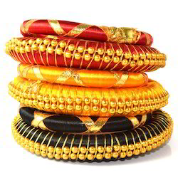 Indian Handcraft Fuchsia Party Wear Silk Thread Bangles