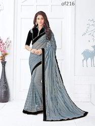 Grey Net Embroidered Fashionable Saree