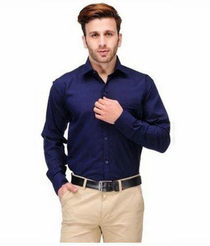 6f8b0667449a7 Mens Cotton Blue Slim Fit Shirt