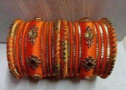 Delhi Stone Chain Thread Bangles, Round