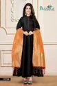 Designer Long Silk Gown With Banarasi Silk Dupatta By Parvati Fabric