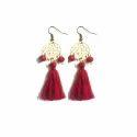 Tiaraa Red Alooy Tassel Hanging Earrings For Women