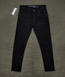Knitted Fabric Pure Black Jeans for Mens
