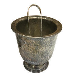 Brown Vintage Brass Ice Bucket