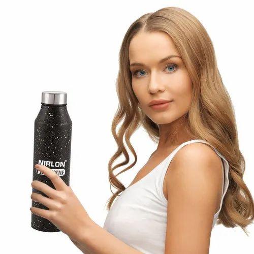 Stainless Steel Black White Spatter Bottle 1000ml - CRYSTAL