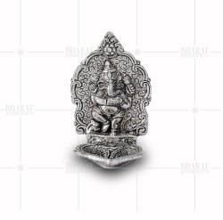 White Metal Ganesh Diya