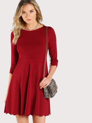Shein Scallop Trim Fit And Flare Dress