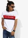 White Printed Regular Fit Round Neck T-Shirt