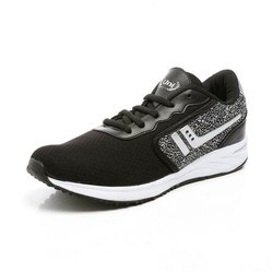 Mens Black White Synthetic Walking Shoes