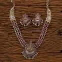 Brass Indo Western Temple Necklace Set With 2 Tone Plating 100185