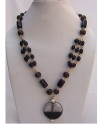 Black, Brown Glass Bead Beaded Necklaces
