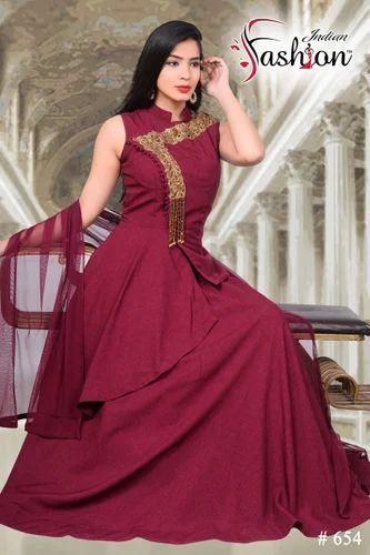 d5ad4f3fdb90 Satin Sleeveless Evening Gowns With Dupatta, Rs 2365 /piece | ID ...