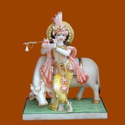 Color Coated Krishna Marble Statue