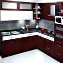 Solid Wood L Shape Modular Kitchen