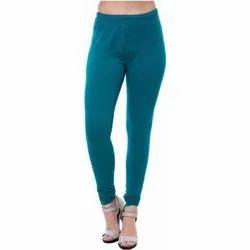 Cotton Plain Ladies Blue Leggings, Size: Free Size