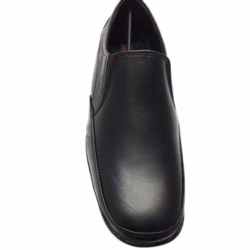 Mens Black Pure Leather Slip On Formal