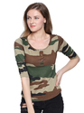 Ladies Round Neck Camouflage T Shirt