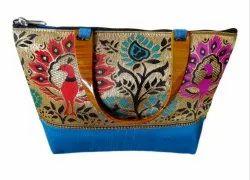 Girls & Women Maharashtrian Cotton Purse - Light Blue