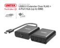 USB2.0 Extender Over RJ45 4-Port HUB (up to 60M) Unitek Y-2516