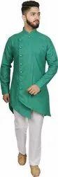 Party Wear Multicolor Drape Kurta Set for Men, Mandarin Collar, Size: 36-42