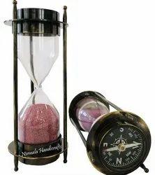Nirmala Handicrafts Antique Brass Sand Timer With Compass