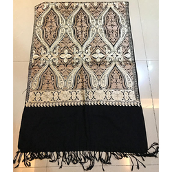 Black Pashmina Silk Embroidered Stole