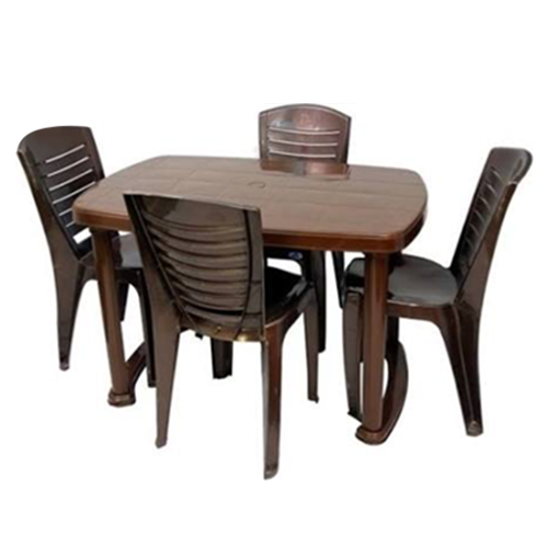 Brown Plastic Dining Table Chair Set