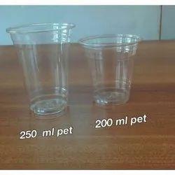 Plastic Transparent 250 ml Disposable Pet Glass, 1 Mm