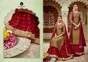 Kalarang Blue Star Jam Silk Cotton Skirt Style Salwar Kameez